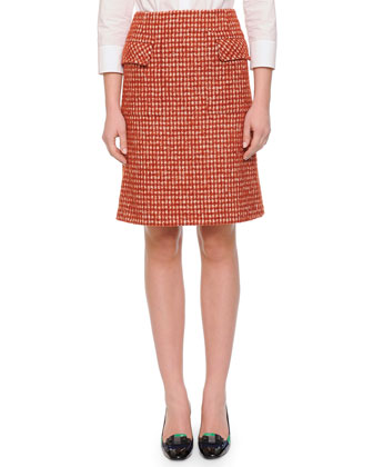 Pied de Poule Slight A-Line Skirt, Arizona Mist