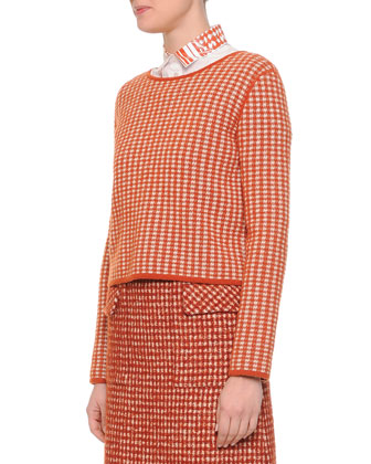 Cashmere Check Woven Top, Laminated Print-Collar Button Blouse & Pied de ...