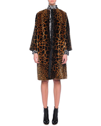 Embroidered Leopard-Print Coat, Leopard