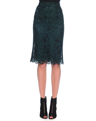 3/4-Sleeve Satin Blouse & Corded Lace Pencil Skirt
