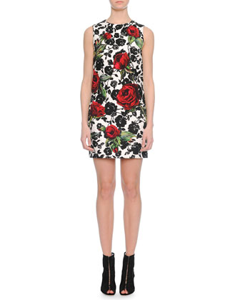 Rose-Print Narrow Shift Dress