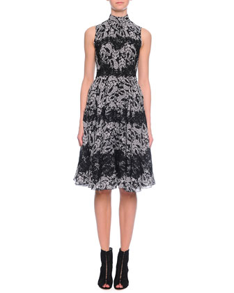Floral-Print Lace-Applique Dress