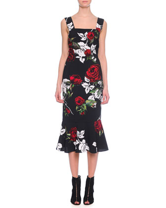 Square-Neck Rose-Print Flounce Dress
