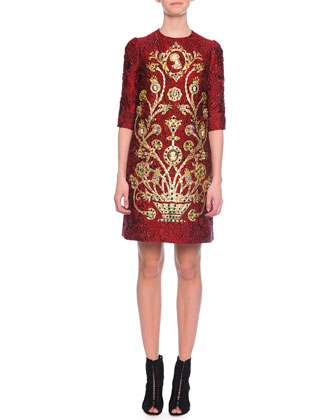 Elbow-Sleeve Embellished Cameo Dress