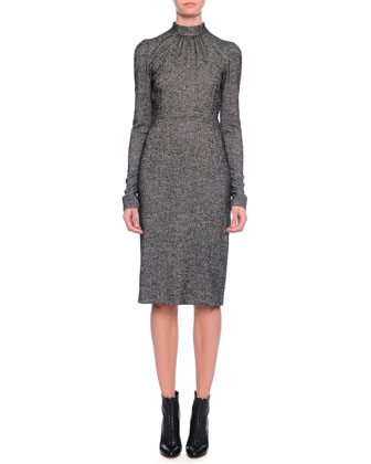Long-Sleeve Mock-Neck Sheath Dress