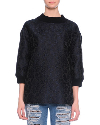 Wide-Band Detail Sweatshirt Top, Navy