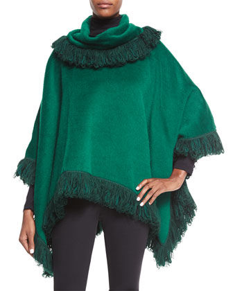 Cahmere Fringe Poncho & Ankle-Zip Leggings