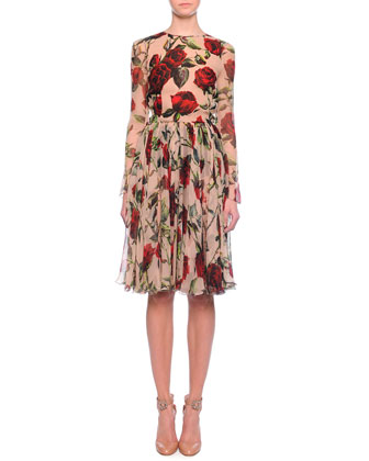Pleated Rose-Print Chiffon Dress