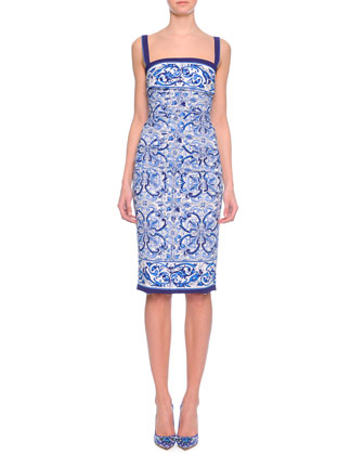 Ruched Scroll-Print Sheath Dress