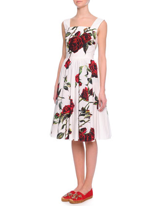 Rose-Print Pleated Fit-And-Flare Dress