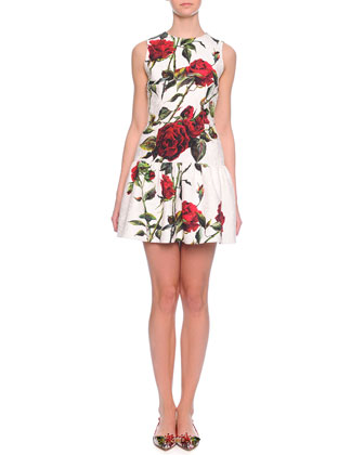 Rose-Print Flounce Dress