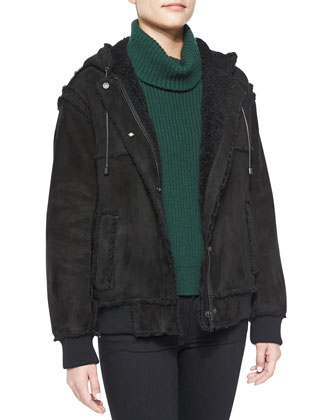 Hooded Shearling Bomber Jacket, Asymmetric-Slit Cashmere-Blend Turtleneck ...
