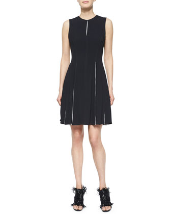 Side-Pleated Contrast-Inset Dress