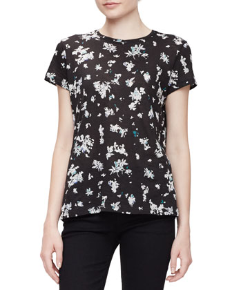 Short-Sleeve Jewel-Neck Floral Tee, Black/White Floral