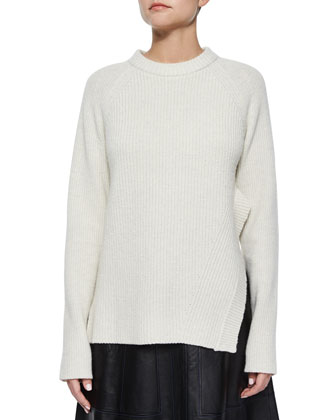 Wool-Cashmere Asymmetric Ribbed Sweater & Flared Lambskin Leather Skirt