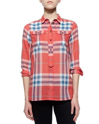 Long-Sleeve Check Flap-Pocket Shirt, Orange