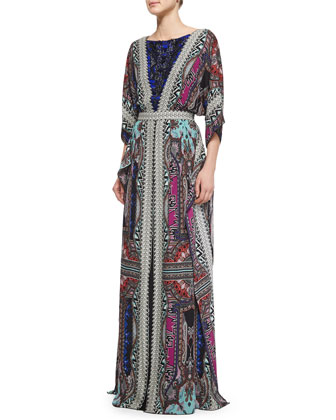 Bead-Embellished Dolman-Sleeve Gown