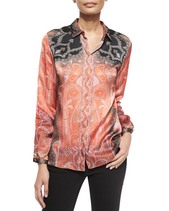 Silk Paisley-Print Blouse, Red