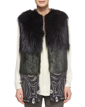 Two-Tone Fur Vest with Paisley-Print Contrast, Split-Neck Crystal-Pleated ...