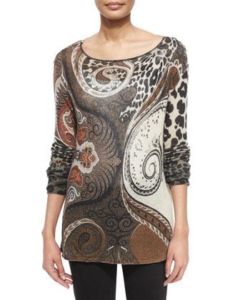Colorblock Twisted Weave/Fur Vest, Leopard-Print Gauze Sweater & Lace-Up ...