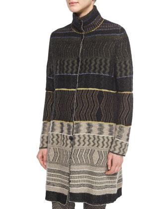 Patchwork Cashmere-Blend Zigzag-Print Sweater Coat, Split-Neck ...