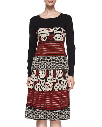 Mixed Crochet Jacquard Top & Textured-Knit Flare Skirt