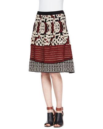 Mixed Crochet Jacquard Top & Textured-Knit Flare Skirt
