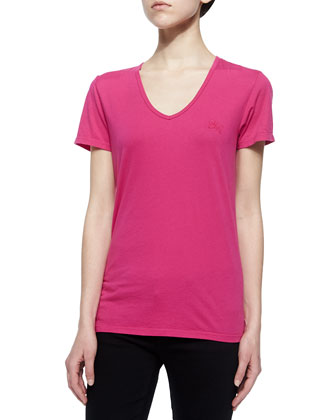 Short-Sleeve V-Neck Cotton Tee