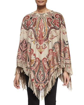 Paisley-Print Cashmere Fringe Poncho & Lace-Up Front Denim Flared Jeans