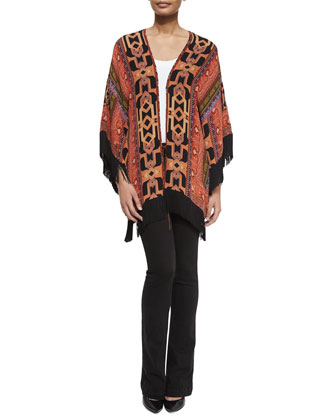 Geometric Silk Fringe Jacket & Lace-Up Front Denim Flared Jeans