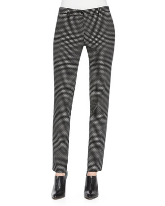 Dotted Jacquard Skinny Pants