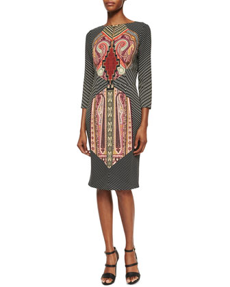 Split-Neck Printed Sheath Dress