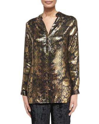 Printed Metallic Tunic Top, Gold