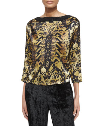 Printed Silk Fringe Jacket, Bead Embellished Silk Top & Chevron Velvet ...