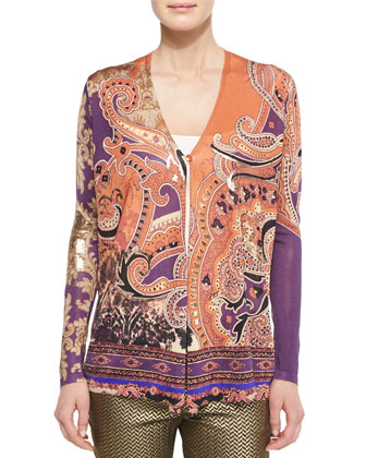 Metallic Pointed Paisley Knit Cardigan & Herringbone Brocade Skinny Pants
