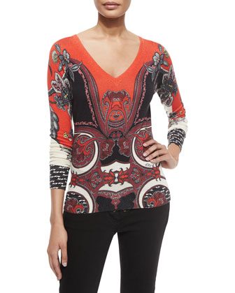 Silk-Cashmere Printed V-Neck Sweater, Red