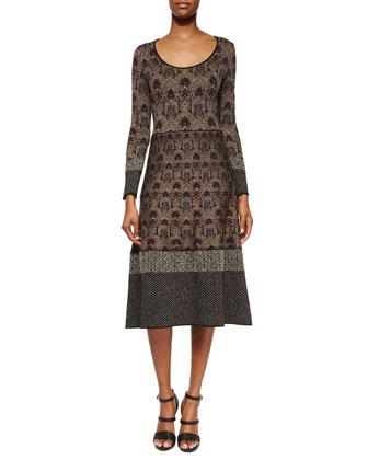 Contrast-Trimmed Damask-Print Midi Dress