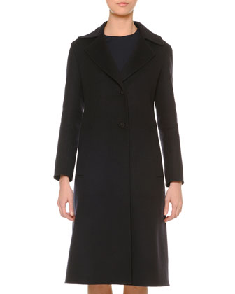 Double-Faced Cashmere A-Line Coat, Black