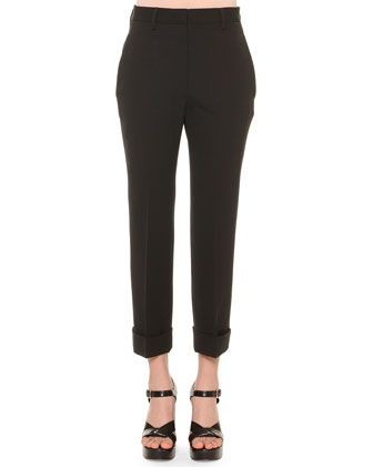 Cropped Cuffed Pants, Black