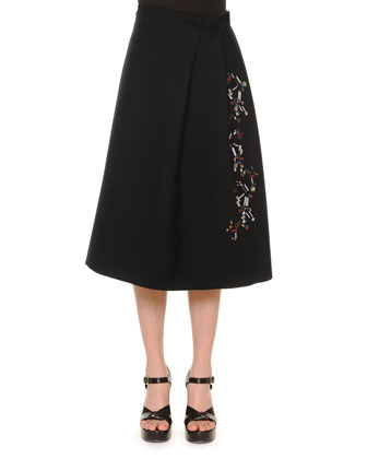 Embellished Pleated A-Line Skirt, Black