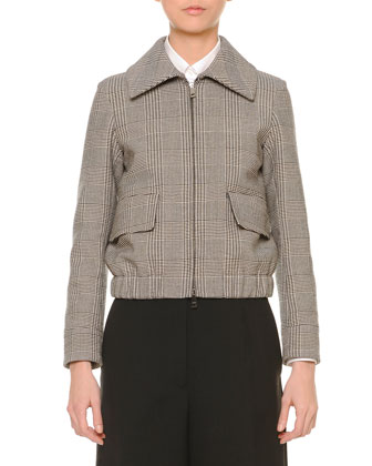 Glen Plaid Short Blouson Zip Jacket