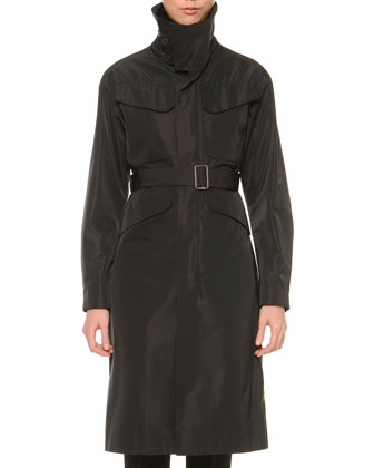Funnel-Neck Belted Trenchcoat, Black