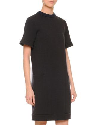 Stretch-Knit Pocket Skimmer Dress