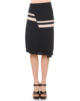 Asymmetric-Stripe Knit Top & Asymmetric-Cut Knit Skirt