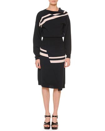 Asymmetric-Stripe Knit Top, Navy/White