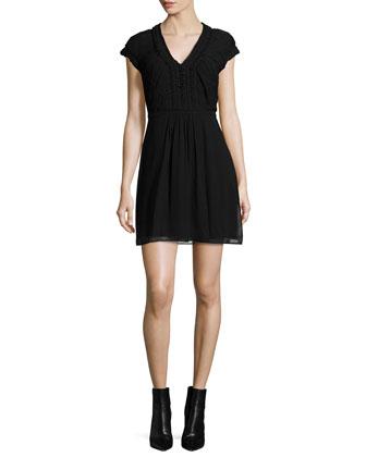 Short-Sleeve Pleated Dress