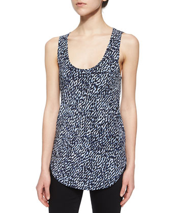Sleeveless Scoop-Neck Printed Silk Tank