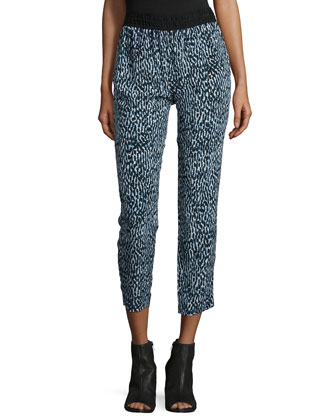 Printed Silk Pull-On Trousers