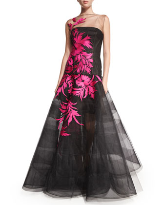 Floral-Embroidered Striped Netting Gown