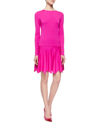 Long-Sleeve Knit Petal-Hem Dress, Shocking Pink